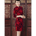 Chinese traditional brand stretch velour cheongsam qipao the half sleeve short qipao women dress S-XXXL free shipping  TD0027