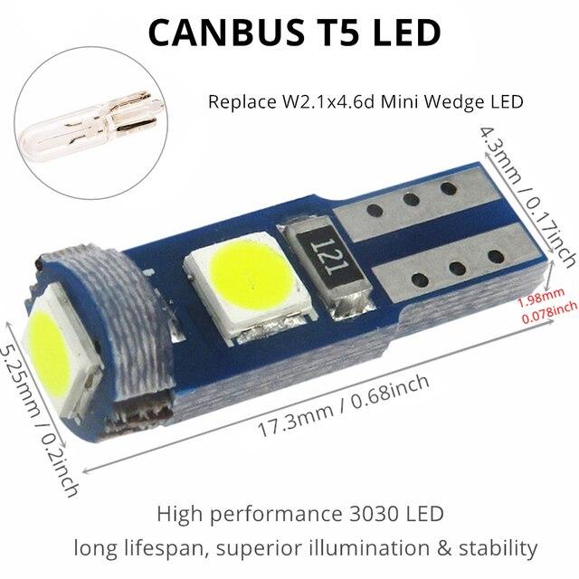WLJH 6x Canbus T5 lámpara LED 73 74 3030 SMD bombilla luces de panel de instrumentos para Subaru BRZ legado Tribeca interior Forester Impreza