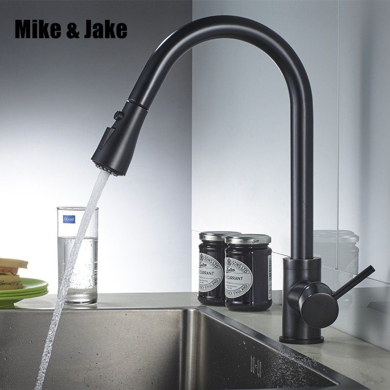 Black pull out kitchen faucet 3 function brass kitchen mixer sink faucet mixer kitchen faucets pull out kitchen tap MJ5555B flg best quality wholesale and retail pull out brass low pressure kitchen faucet black colour deck kitchen tap mixer pull up