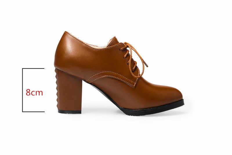 ZJVI/2019 г.; модные женские туфли-лодочки на шнуровке; сезон весна-осень; пикантные женские туфли-лодочки на высоком квадратном каблуке 8 см; зимняя женская Повседневная Рабочая обувь черного цвета
