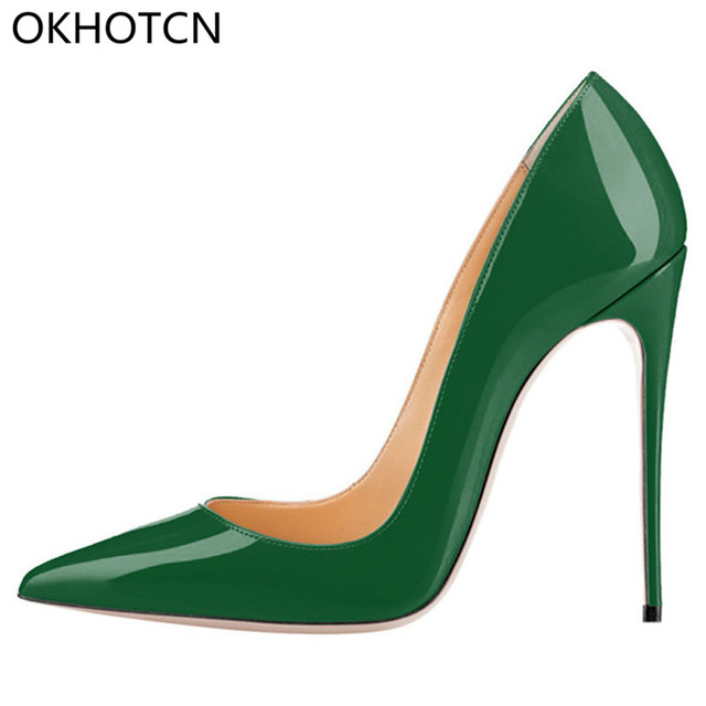 3ff1064f5 OKHOTCN Brand Shoes Woman High Heels Women Shoes Pumps Stilettos Shoes For  Women Green Patent Leather High Heels Wedding Shoes