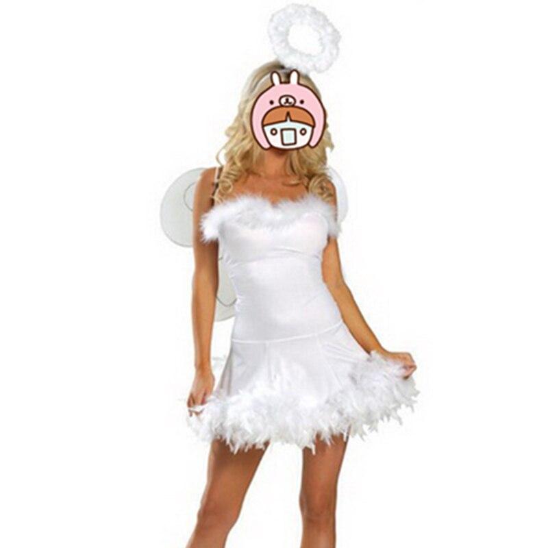 Women Adult White Fallen Angel Dark Angel Costume Hot Sale Halloween New Cosplay Stage Dress Sexy Costume