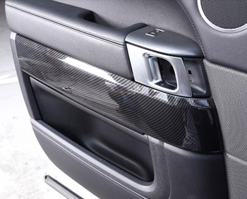 Carbon Fiber Style ABS Plastic Car Inner Door Decoration Cover Trim Strips For Land Rover Range Rover Sport RR Sport 2014-2018