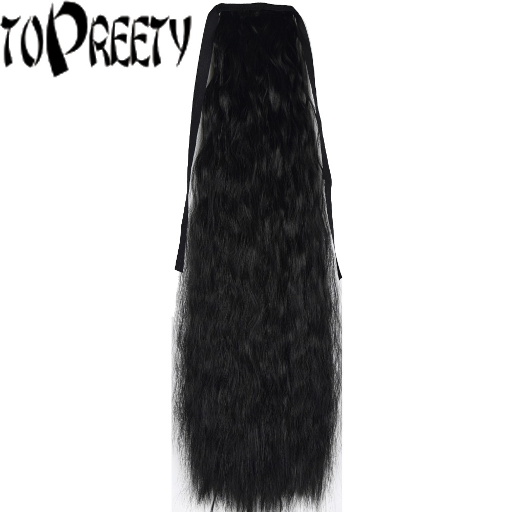 TOPREETY Heat Resistant B5 Synthetic 22 55cm 90gr Kinky Straight Ribbon Ponytail Extensions 40 Colors Available ...