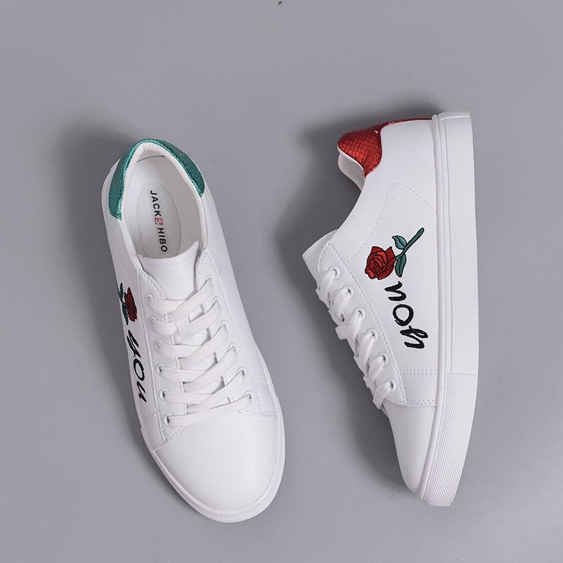 JACKSHIBO Design Rose Blumenmuster Flache Schuhe Frauen Rot und Grün - Damenschuhe - Foto 4