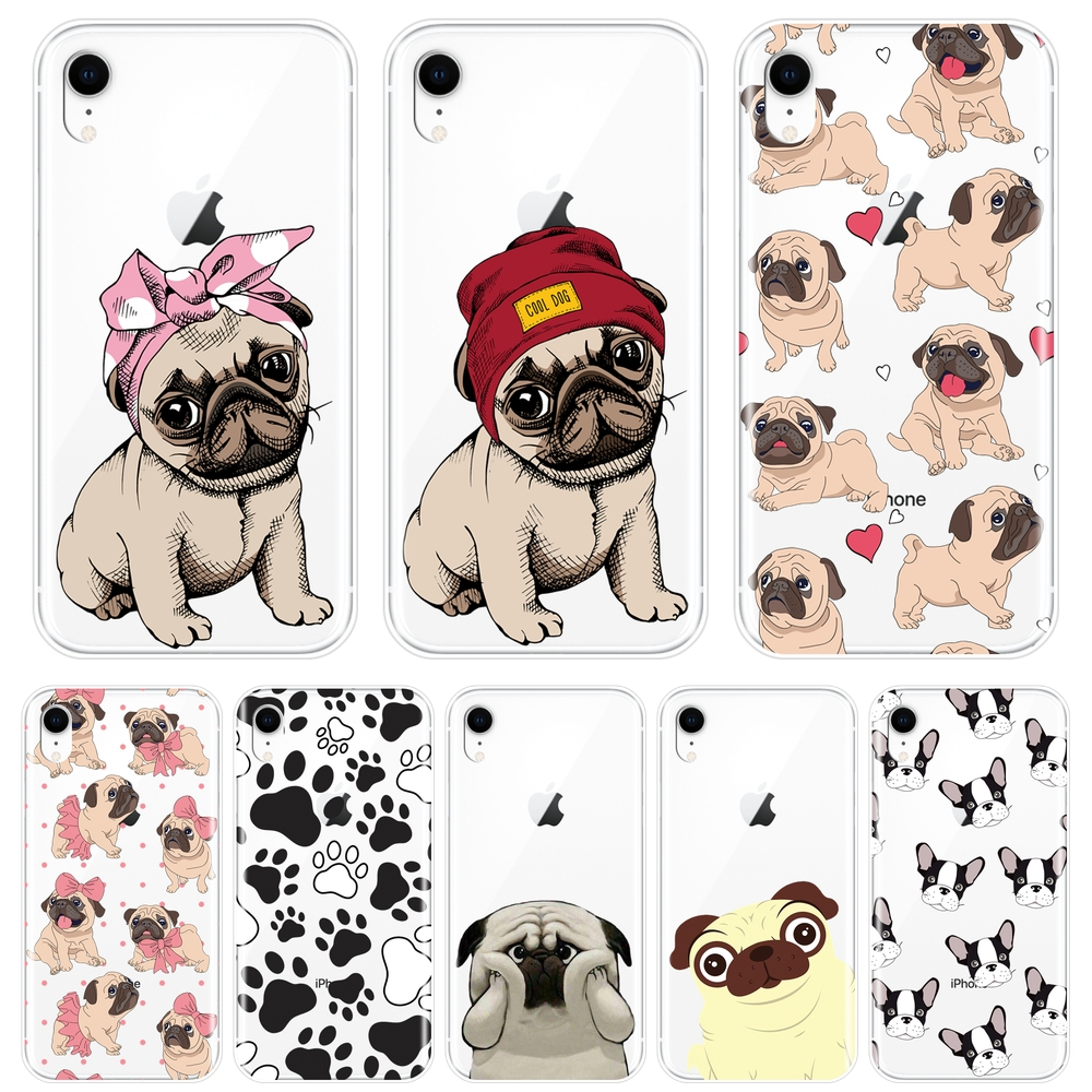 Phone <font><b>Case</b></font> For <font><b>iPhone</b></font> X XR XS MAX 8 7 6S 6 S Pug French Bulldog Silicone Soft Back Cover For Apple <font><b>iPhone</b></font> 8 7 6S 6 S Plus <font><b>Case</b></font> image
