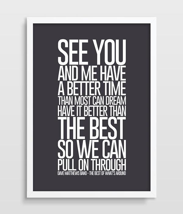 US $9.6 50% OFF|Songtexte Dave Matthews Band Musik Poster Küche Poster  Wohnzimmer Zimmer Kunstdruck bild poster kunst Das Beste, Was der Um-in  Malerei ...
