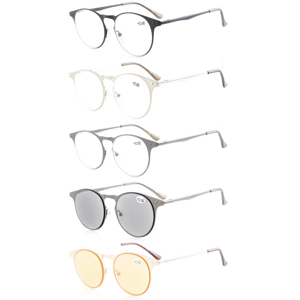 R15033 Eyekepper 5 Пакет качества круглый металлический Рамки весна-петли храмы Очки для чтения для женщин включают Защита от солнца читателей Комп...