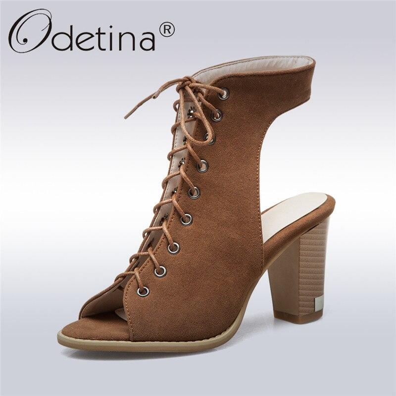 Odetina 2018 Nova Moda Gladiador Lace Up Sandálias Das Mulheres De Alta Sapatas do Verão do Salto Bloco Heel Slingback Peep Toe Plus Size 35-50
