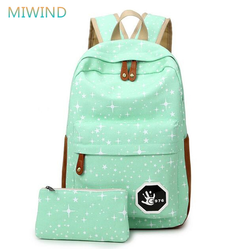 MIWIND Luggage Bags Fashion Star Women Men Canvas Backpack Schoolbags For Girls Boys Teenagers Casual Travel Bags Rucksack R189 cool urban backpack for teenagers kids boys girls school bags men women fashion travel bag laptop backpack