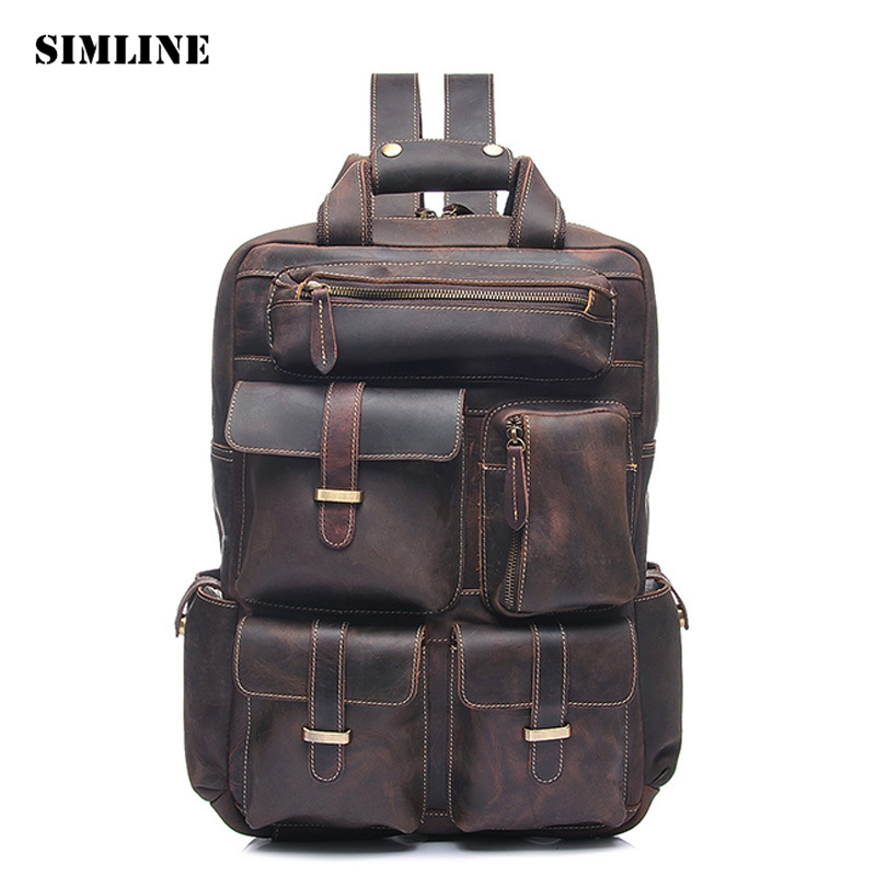 SIMLINE Vintage Casual Genuine Crazy Horse Cow Leather Real Cowhide Men Mens Travel Backpack Shoulder Bag Bags Backpacks For Man simline vintage casual crazy horse genuine leather real cowhide men men s travel backpack backpacks shoulder bag bags for man