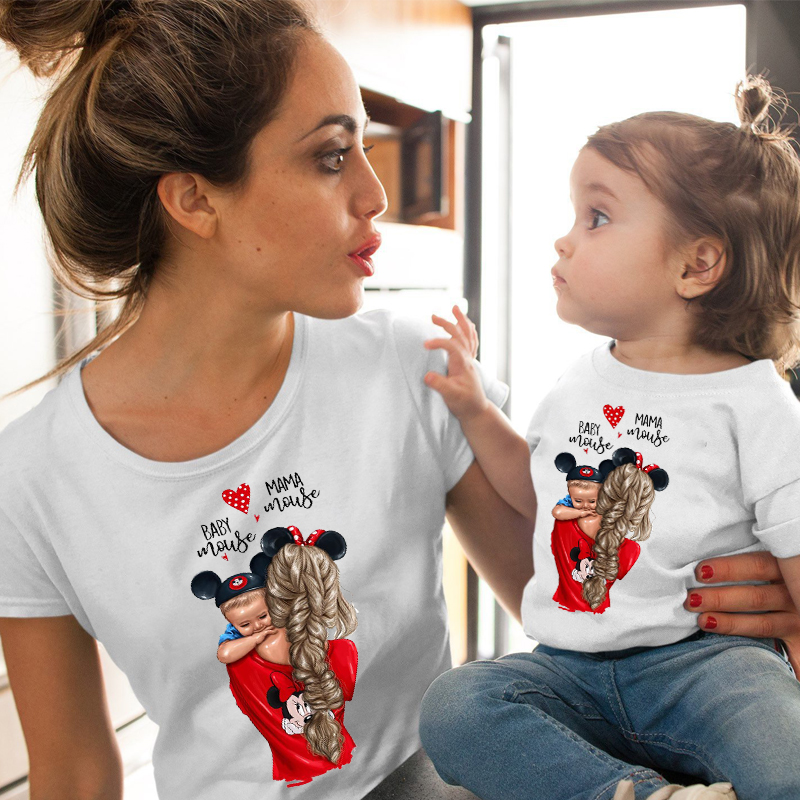 Matching Family Mom and Daughter Print Boys Girls T-shirt Mother's day Present Summer Clothes Female Funny T shirt Kids Tops Tee