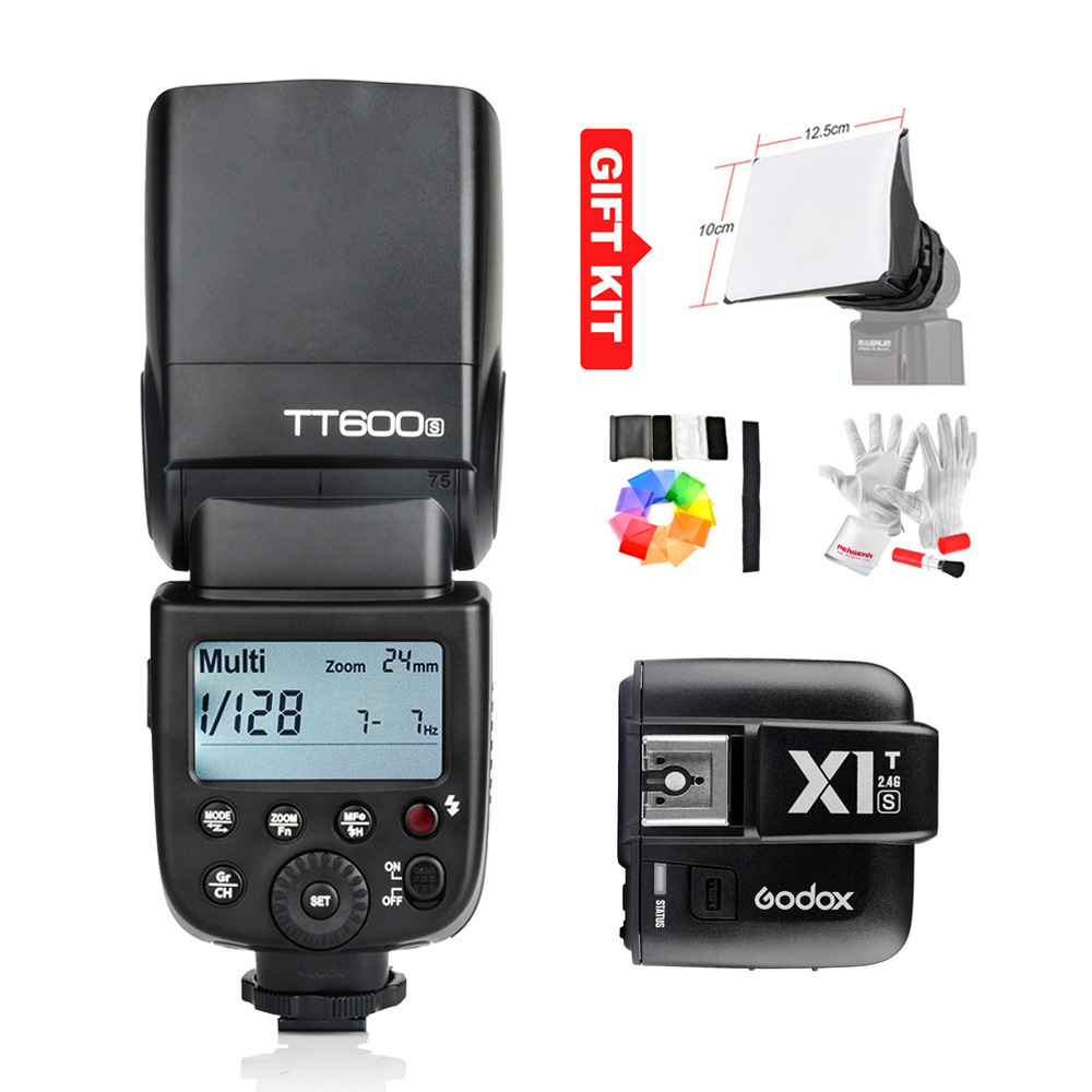 ФОТО Godox TT600S GN60 Speedlite Flash Light +X1T-S Flash Trigger Transmitter HSS 1/8000s(Optional) for Sony DSLR(MI Shoe) + Gift Kit