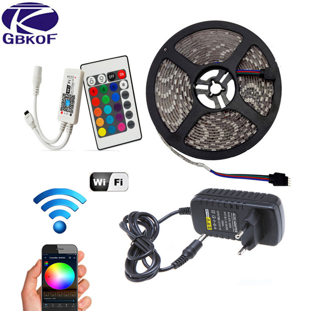 5 M 10 M 15 M WiFi RGB LED pasek światła wodoodporny SMD5050 3528 2835 DC 12 V taśmy LED diody elastyczna wstążka kontroler + wtyczka taśmy led