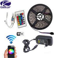 5M 10M 15M WiFi RGB LED de luz de tira impermeable de SMD5050 3528 de 2835 DC 12V led tiras contacto de cinta flexible de diodo + tira led de enchufe