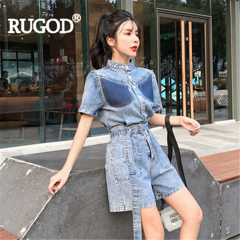 RUGOD Rompers womens jumpsuit Denim With belt Casual Lady Solid pockets playsuit 2019 New Fashion Female women