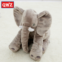 QWZ New 40cm Fashion Animals Toys Stuffed Soft Elephant Pillow Baby Sleep Toys Room Bed Decoration