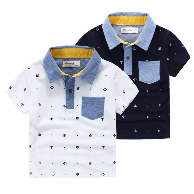 ФОТО 2016 new spring autumn Girls Kids Boys Cotton printed lapel T - shirt  comfortable cute baby Clothes Children Clothing