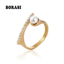 BORASI nowa perła kryształowe pierścionki dla kobiet CZ modne pierścionki biżuteria ze stali nierdzewnej złoty kolor Trendy przyjęcie zaręczynowe pierścionki prezentowe tanie tanio Moda GEOMETRIC STAINLESS STEEL Ślub Pave ustawianie Pearl Zespoły weselne Kobiety Women Ring Wedding Ring Vintage jewelry