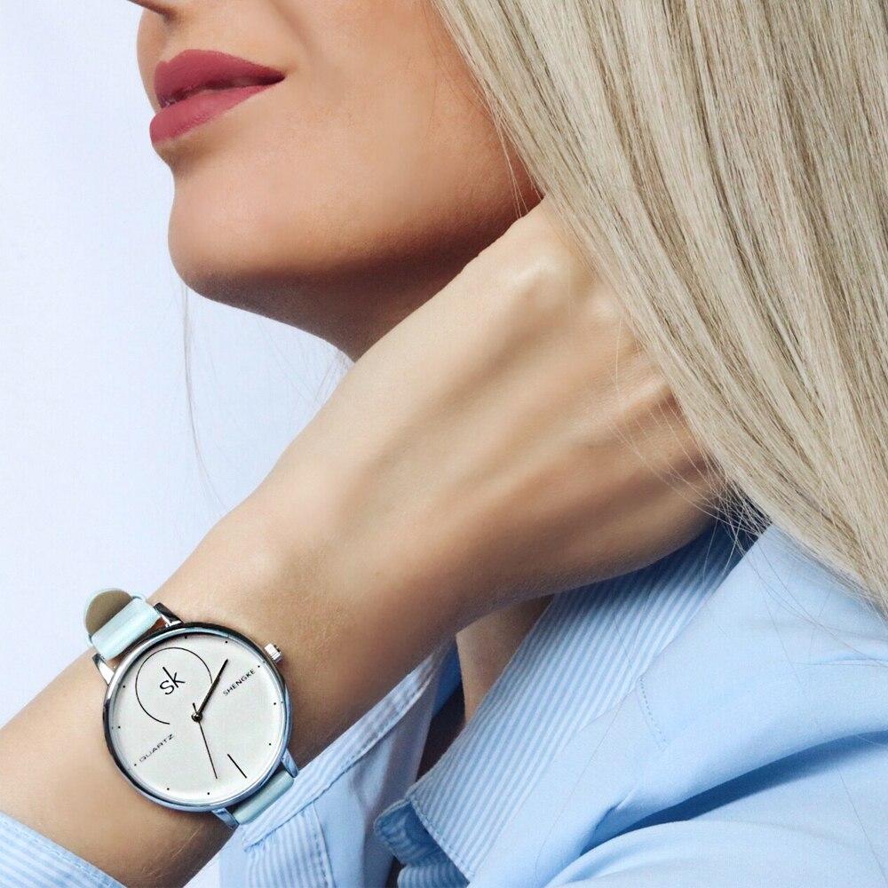Shengke Brand Women Luxury Watches Female White Leather Wristwatch Mixmatch Dress Quartz Clock Ultra Thin Relogio Feminino 2017 meibo brand fashion women hollow flower wristwatch luxury leather strap quartz watch relogio feminino drop shipping gift 2012