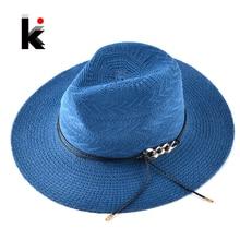 6ddf199377c Chapeau Panama For Women Men Wide Brim Sun Hat With Gold Chain Summer Straw  Hats Female