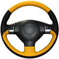 XuJi Black Yellow Genuine Leather Car Steering Wheel Cover for Suzuki Swift (Multifunction button version)