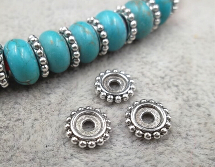 Silver-Wheel Bracelets Jewelry-Accessories Spacer Beads for 100pcs/Lot Groove Alloy Diy title=