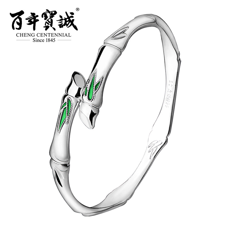 Cheng Centennial 999 Sterling silver Original Bamboo sterling silver Bangle Traditional Culture Enamel jewelry цена 2017