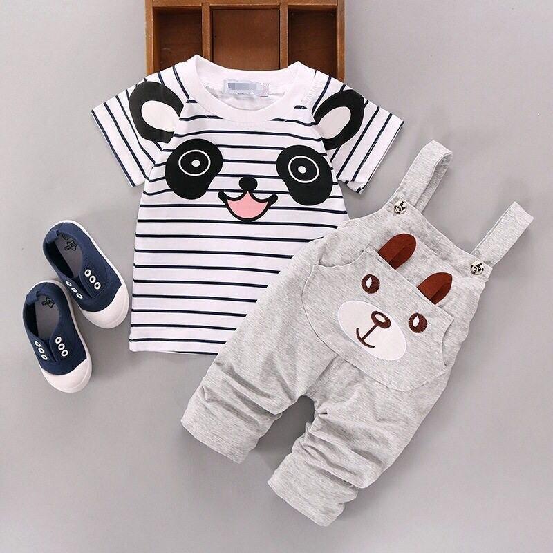 2016 Estilo Moda Verão Roupas Childern Meninos Conjuntos de Roupas de Bebê Panda Bonito Dos Desenhos Animados Conjuntos de Roupas Crianças Meninos Jardineiras Conjuntos de Verão - 3