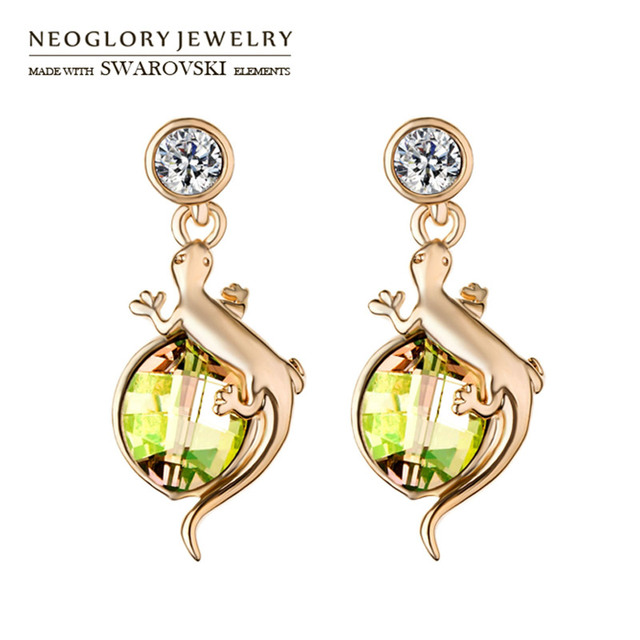 Neoglory Austria Crystal   Auden Rhinestone Dangle Earrings Cute Alloy  Lizard Stylish Jewelry For Trendy Girl 54a49d4d63ec