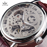 New SEWOR Luxury Brand Gold Transparent Skeleton Watch Men Mechanical Hand Wind Wristwatch Male Fashion Leather