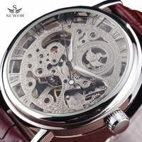 Nuovo sewor oro marchio di lusso trasparente scheletro degli uomini orologio meccanico carica a mano orologio da polso uomo fashion cinturino in pelle orologio da polso