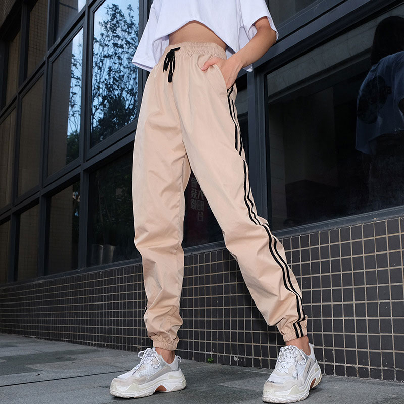Women Fashion Khaki Joggers Stripe   Pants   Casual Loose Sports Trousers Slim High Waist Hippie   Wide     Leg     Pants   Female Autumn Summer
