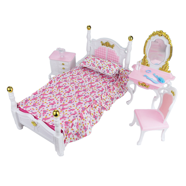 For Barbie Furniture Bedroom Miniature Deluxe Gold-plated Bed Play Set with Bedside Cupboard Dresser Dressing Stool for 1/6 Doll