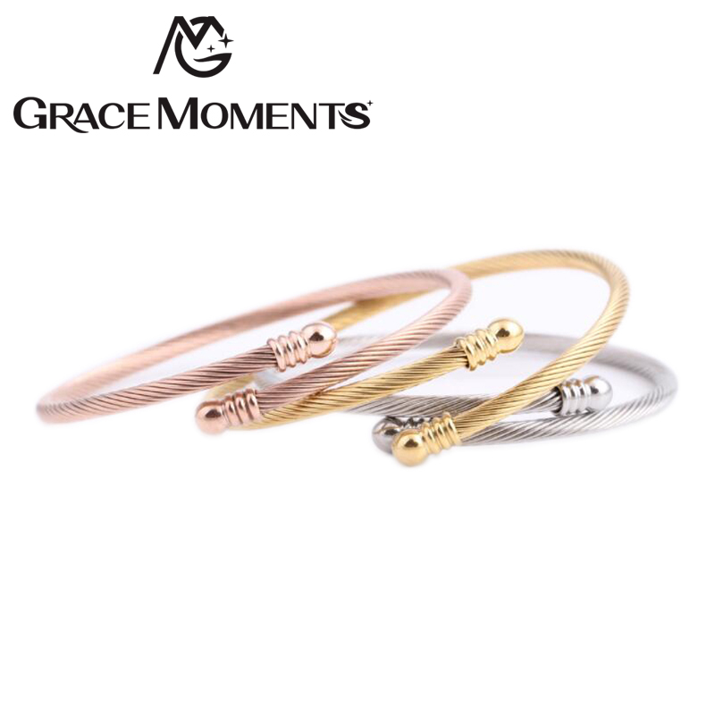 30pcs lot Wholesale 53mm Stainless Steel Cuff Wrist Bangle 3mm Cable Bangle Steel Gold Rose Gold