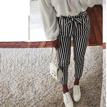 2018 new Autumn Black and White Casua Belt Striped Pants Women fashion Clothing High Waist Trousers New Casual Carrot Pants-in Pants & Capris from Women's Clothing & Accessories on Aliexpress.com | Alibaba Group