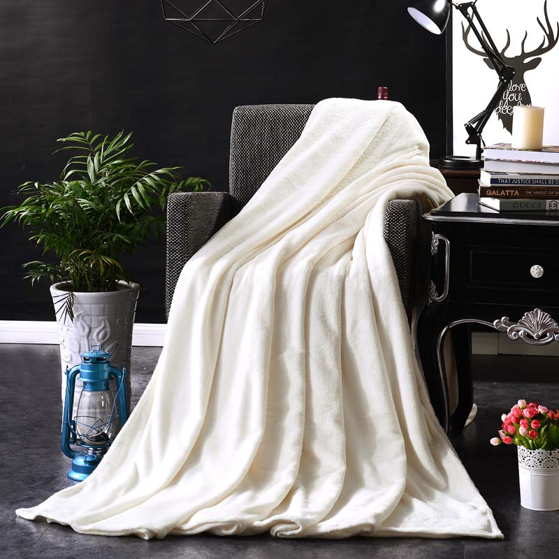 Image 2 - CAMMITEVER Home Textile Pure Color White Coffee Green Solid Air/Sofa/Bedding Throws Flannel Blanket All Seasons Soft Bedsheet-in Blankets from Home & Garden