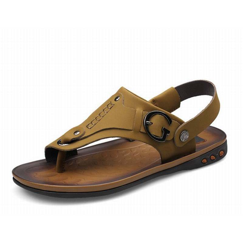 Mens 100% Genuine Leather New Fashion Brand Casual Men sandals Slip-on Slippers Summer Beach Shoes Flip Flops Sandales Flats