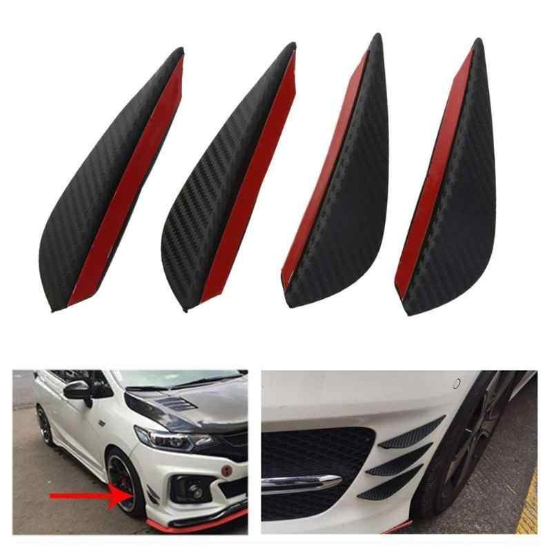 4 unids/set fibra de carbono ajuste parachoques delantero divisor de labios Fin cuchillo de aire Kit de cuerpo de coche Spoiler accesorio negro
