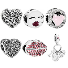 Simple Style Lips Love I You Zircon DIY Bead Fit Original Pandora Charms Silver Bracelet Trinket Jewelry Women Gifts