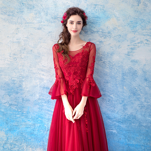 Elegant Wine Red Evening Dress Slim long Lace Tulle Formal Wedding Party Dresses  Beading Pearls Prom Gowns
