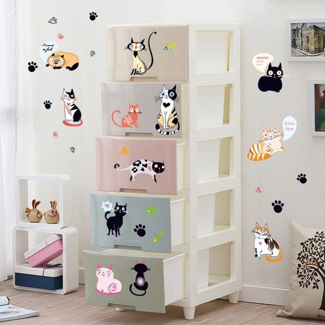 US $7.75 |Più Stili Gatti Wall Sticker Per Bambini Camera Da Letto Armadio  Wall Stickers Per Bambini Camere Home Decor Murale Decalcomanie Per La ...