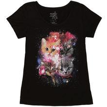 Kitten In Space Galaxy Kittens Junior's Black T-Shirt for Lady Short Sleeve Women Tops Tee Popular Woman T Shirt Dress