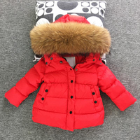 Children Outerwear Winter Jackets Toddler Thickening Down Coats Baby Girl Boy Big Raccon Fur Clothes Windproof Snowsuit Parkas