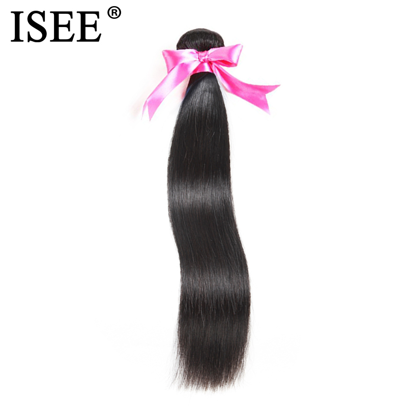 ISEE HAIR Malaysisk Straight Hair Weaves Human Hair Bundles 10-26 - Menneskelig hår (for svart)