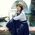 Осень Женщины платье Британский стиль Ретро с длинным рукавом рождество макси платье кукла воротник Лук высокой талией полноценно платье