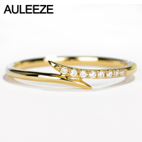 AULEEZE Real Diamond Ring 18K Yellow Gold Natural Diamond Wedding Band Pave Matching Band Unique Unilateral