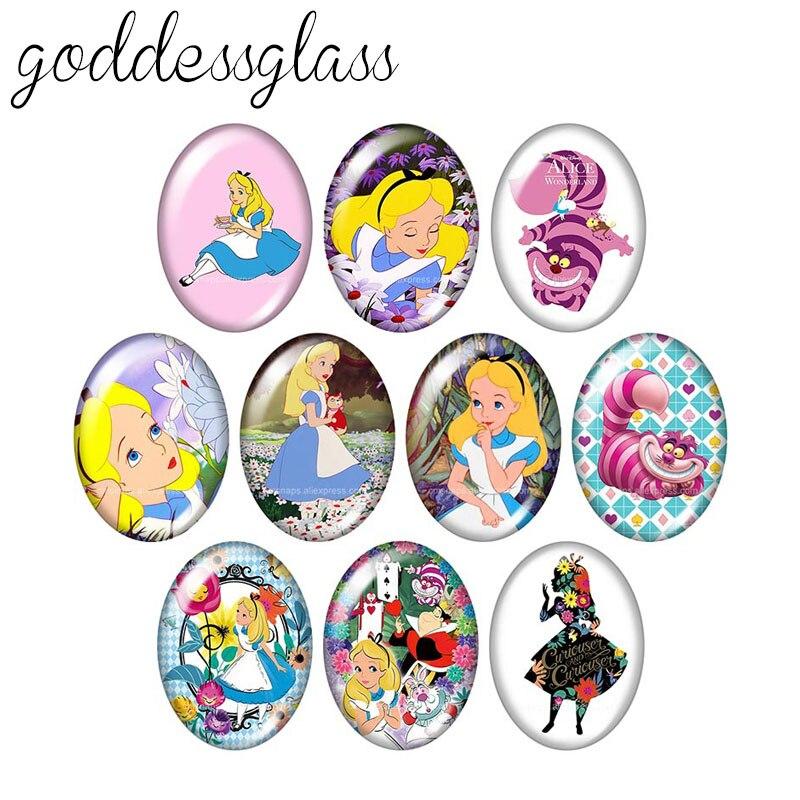 TB0218 Princess Alice Girls Gift 10pcs Mixed 13x18mm/18x25mm/30x40mm Oval Photo Glass Cabochon Demo Flat Back Making Findings