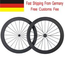 Envío Honorario de Las Aduanas 700C 38mm 50mm Clincher Fibra de Carbono Completa ruedas 3 K Mate Bici del Camino del Carbón Wheelset de La Bicicleta Del Buque De Ee. uu alemania