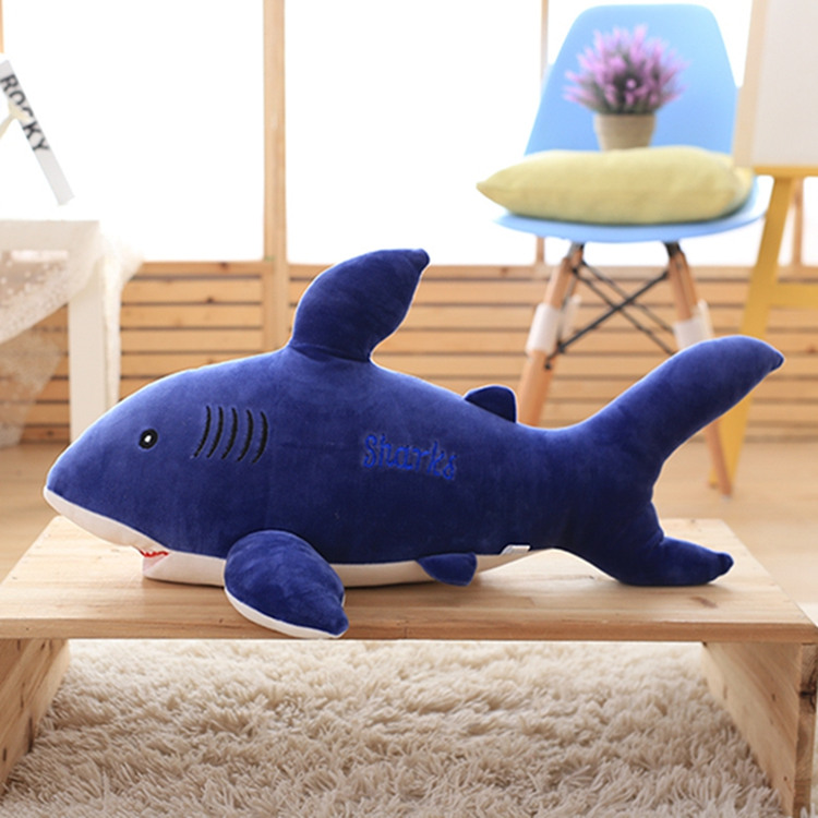 Jouet de requin bleu en peluche de grande taille mignon cadeau de poupée de requin bleu foncé environ 85 cm